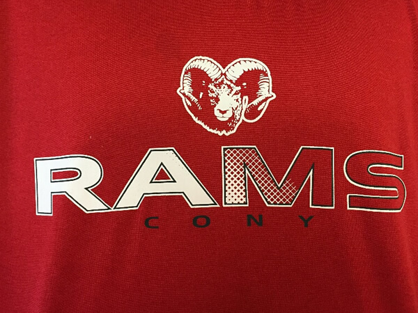 Cony Rams logo on shirt by D R Designs, LLC.