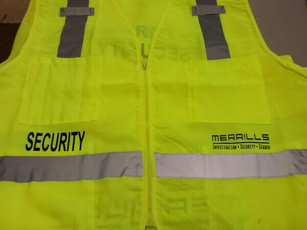 Merrills logo on security vest by D R Designs, LLC.