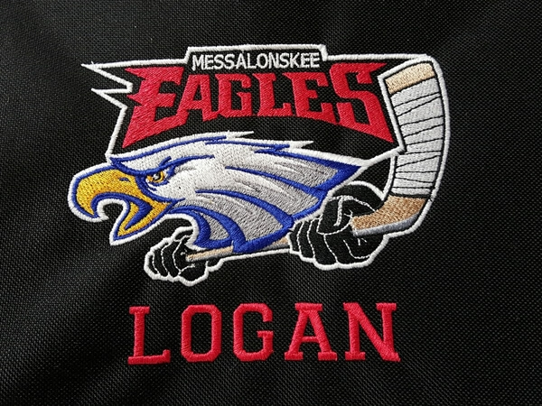 Mesalonskee Eagles logo embroidered by D R Designs, LLC.