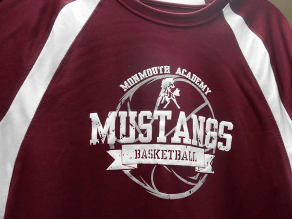 Monmouth Academy Mustangs Basketball shirt by D R Designs, LLC.