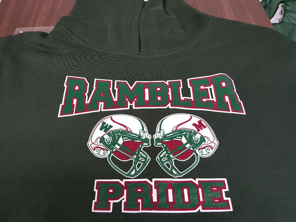 Rambler Pride embroidered logo by D R Designs, LLC.