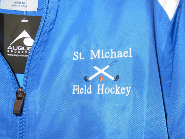 St. Michael Field Hockey embroidered logo by D R Designs, LLC.