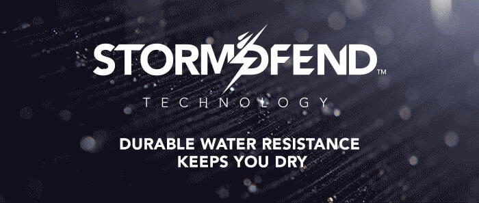 Storm-dfend technology provides durable water resistance to keep you dry.  Available at DR Designs.