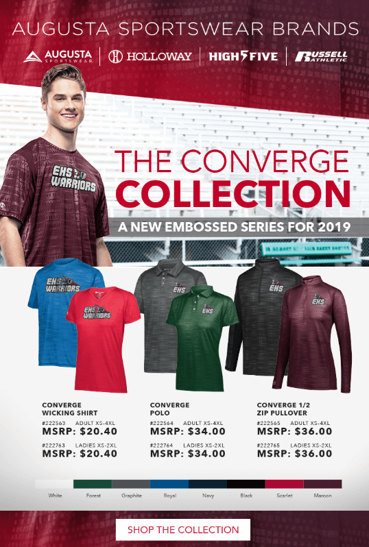 Augusta Sportswear, The Converge Collection, sold by D R Designs, Inc., Manchester, Maine.