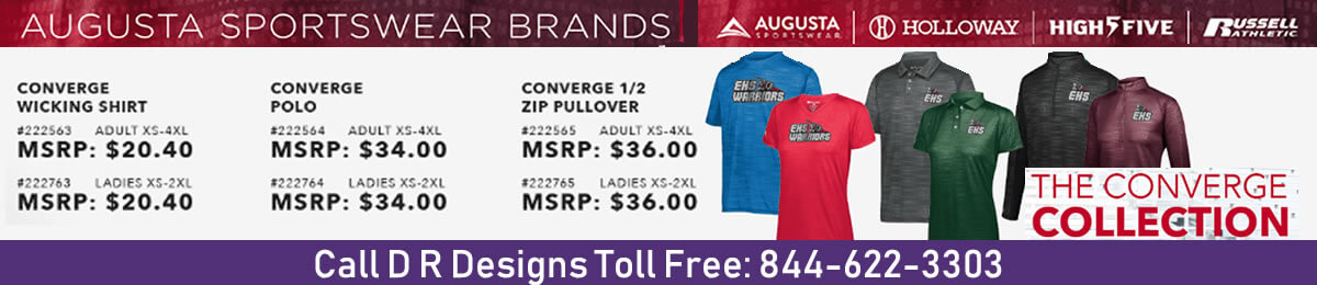 Augusta Sportswear Brands' Converge Collection available at D R Designs, Manchester, Maine.
