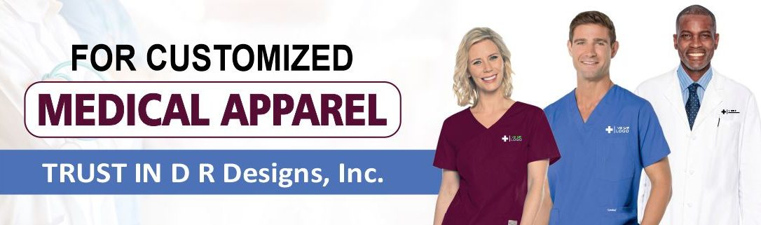 Customized medical apparel sold at D R Designs, Inc., Manchester, Maine.