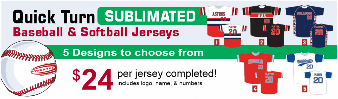Power-tek, Sublimated Baseball & Softball Jerseys, sold by D R Designs, Inc., Manchester, Maine